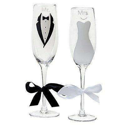 Mr. and Mrs.Glass Wedding Champagne Toasting Flutes