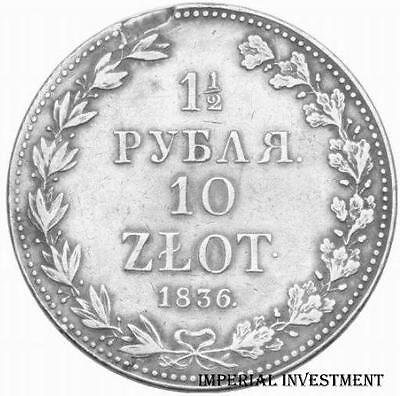 Coin - Poland Silver Coin - 1 1/2 Ruble - 10 Zlotych 1836  M/w  # 175