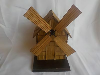 Vintage Wooden Rotating Windmill Music Box Taiwan Plays Windmill of your Mind