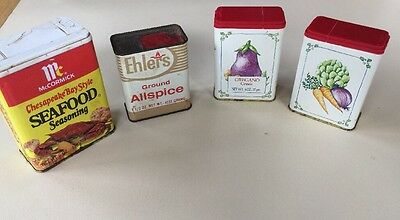 Lot of 4 Vintage Tin Spice Containers avon ehlers all spice, McCormick, seafood