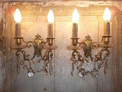 French pair of stunning gold bronze crystals - glass wall light sconces antique