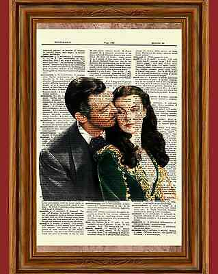 Gone with the Wind Dictionary Art Print Poster Picture Vivien Leigh Clark Gable