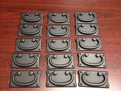 16 Black drawer pulls, cabinet chest hardware, vintage Old Mission Bail style.