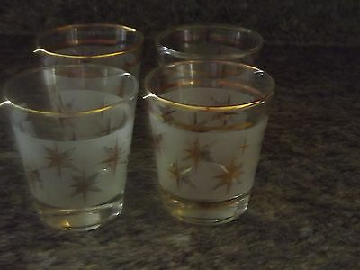 SET OF 7 Vintage Frosted Atomic gold Star Low Ball Glasses - Mid century
