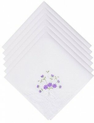 Selected Hanky Ladies/Women's Cotton Handkerchief Flower Embroidered With Lace