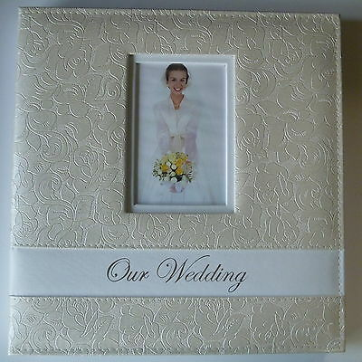 "Large Wedding/Bridal Photo Album - IVORY rose design - ""our wedding"" 32.5x33.5cm"