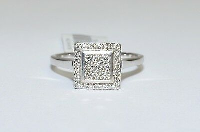 CLEARANCE 9K White Gold 1/4ct I/SI Diamond Engagement Square Halo Ring #711821