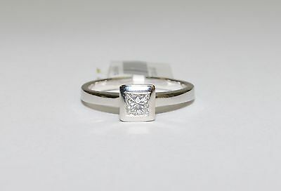 CLEARANCE 18K White Gold 1/3ct Princess Solitaire Diamond Engagement Ring 713116