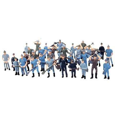 50pcs Painted Mixed Model Train Railway Worker People Figures 1:42 HO Scale