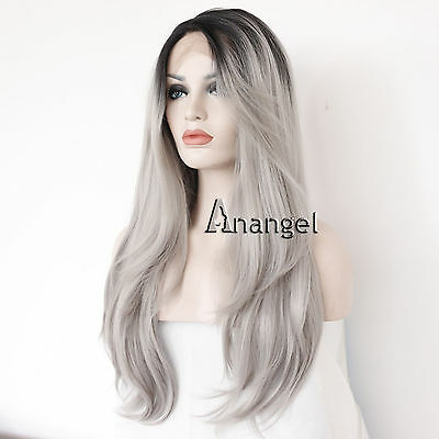 """Cap+24"""" Grey Lace Front Wig Long Wavy Ombre Heat Resistant Synthetic Hair Wigs"""