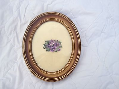 Purple Violets Petit Point in an antiqued gold looking frame (875)