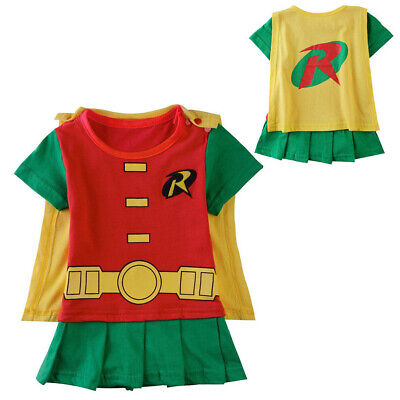 Baby Girl Robin Dress Costume Bodysuit Infant Superhero Jumpsuit Playsuit Outfit