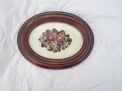 Very Fine Petite Point Rose Cascade in oval frame (876)
