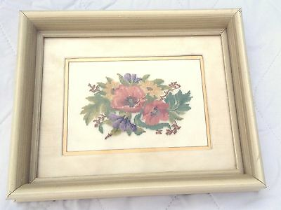 Floral Cascade Petit Point - double matted  in an antique white frame (880)