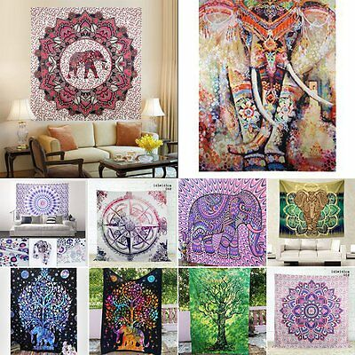 Indian Mandala Tapestry Hippie Wall Hanging Elephant Twin Bedspread Throw Decor