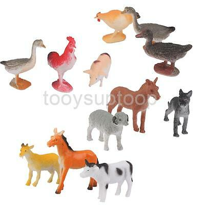 12pcs Plastic Farm Yard Animal Model Set Kids Party Bag Filler Cow Horse Pig