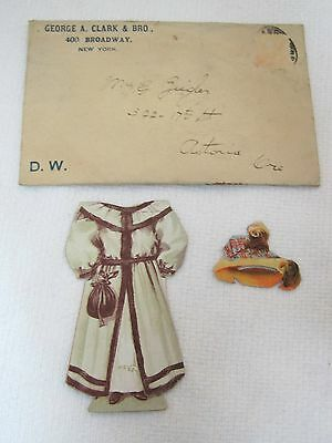Clark's ONT Thread Paper Doll Hats Trade Card Die Cut Original Shipping Envelope