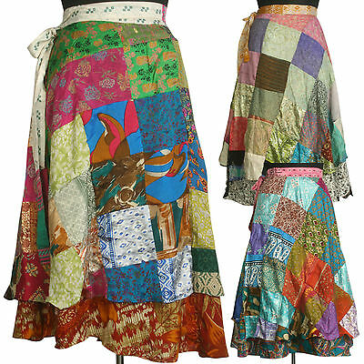 5 Mid-Calf Vintage Silk Sari Patchwork Magic wrap skirts dress beach wear SW2