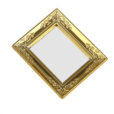 1/12 Golden Square Framed Mirror for Dollhouse Miniature Accessories