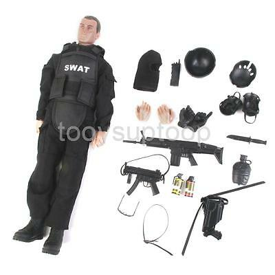 """12"""" 1/6 Military Army Combat ACU Swat Soldier Action Figure Model Toys Black"""