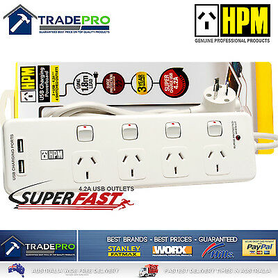 Power Board Surge Protector HPM® Smart Fast USBs & 4 Outlet Individual Switched