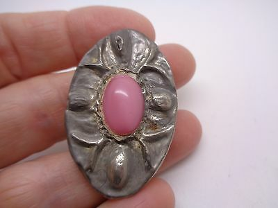 Vintage Hand Made Ruskin Style Pewter Repousse Brooch With Pink Glass Stone