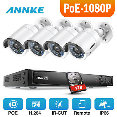 ANNKE 1080P 2MP Video 4CH 6MP NVR Home Security Camera System Hikvision POE 1TB
