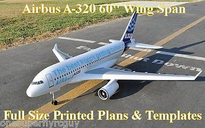 """Airbus A-320, 60"""" WS Giant Scale RC Airplane Full Size PRINTED Plans & Templates"""