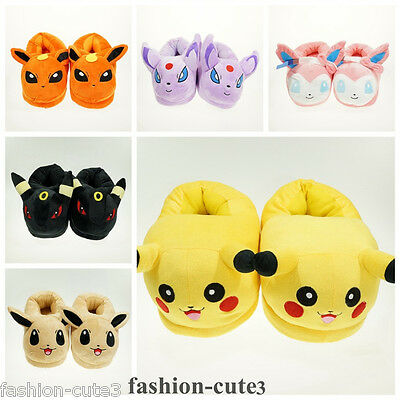 """New Pokemon Pikachu Umbreon Warm Cosplay Adult Plush Shoes Slippers 11"""" Indoor"""