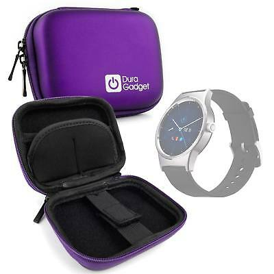 Purple Hard EVA Case with Carabiner Clip for Alcatel MovieTime Wifi Smartwatch