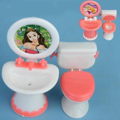 1/6 Plastic Bathroom Toilet Sink Mirror Set for Barbie Dolls House Furniture