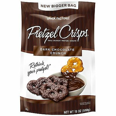 2 X 18 oz Snack Factory Pretzel Crisps Dark Chocolate Crunch Thin Crispy F9