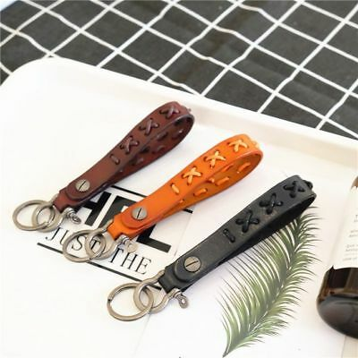 Men Genuine Leather Braided Key Chain Ring Tactical Belt Auto Buckle Clip Gifts