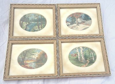 Four Landscape  Petite Point in matchin matted/ white antiqued frames (881)