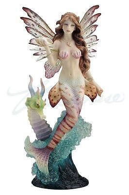 Lionfish Mermaid With Seahorse Dragon Statue Sculpture Figure- GIFT BOXED