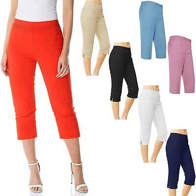 Womens Ladies 3/4 Shorts Capri Cropped Trousers Pockets Half Elasticated Pants