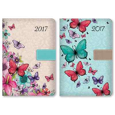2017 A6 Fabric Day a Page Diary with Monthly Tab Index - Pink or Teal
