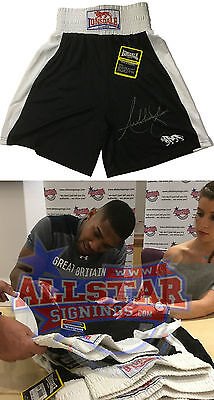 Anthony Joshua Signed Boxing Trunks World Champion See Real Proof Video
