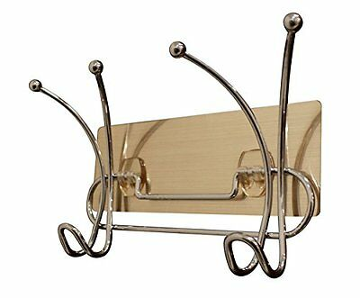 JustNile Removable Wall Adhesive Metal Wire Coat and Hat Hook Rail/Rack with 2