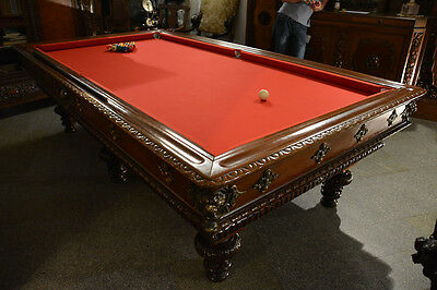 Original Eclectic Style Massive Pool Table From Xix Century