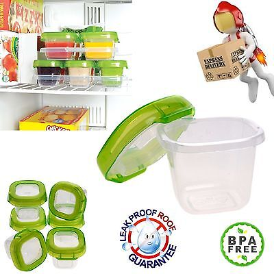 6 Baby Blocks Freezer Storage Containers Lids & Tray for Baby Food BPA PVC Free