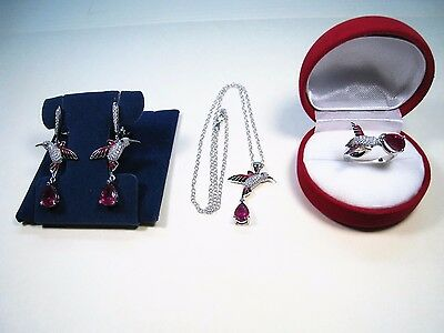 7.4 Ctw Ruby Hummingbird Necklace/earrings/ring #7 White Gold/enamel/925 Silver