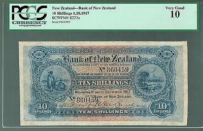 New Zealand P-s223a 1917 10 Shillings VG Bank of New Zealand PCGS-10