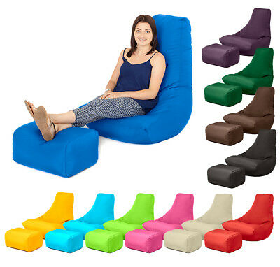 Outdoor Water Resistant Filled Bean Bag Gamer with Footstool Lounger Gaming Seat