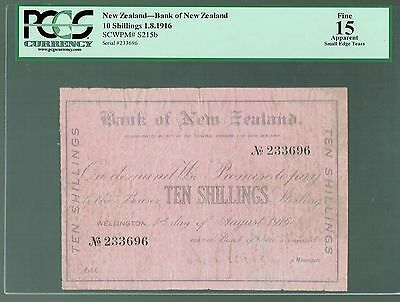 New Zealand P-s215b 1916 10 Shillings Fine Bank of New Zealand PCGS-15