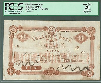 Fiji Treasury Note Levuka P-16c 1873 10 Dollars VF-PCGS-15 Pen Cancelled