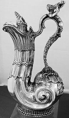 Puiforcat French Silver Claret Jug with Nautical Theme,  1900