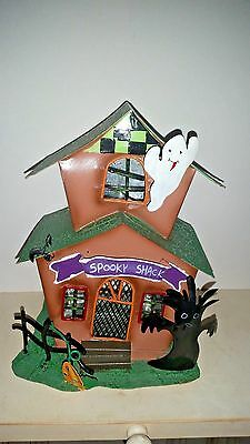 Halloween Haunted House Metal Tin Votive Candle Holder