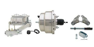"Chrome GM Chevy 7"" Dual Disc Drum Power Brake Booster Kit Master Cyl A Body"