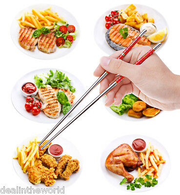 New 5 Pairs Stainless Steel Fish Printed Thread Stylish Non-slip Chopsticks
